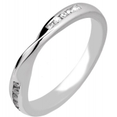 Platinum Designer Shaped Wedding Ring with Inlaid Diamonds 3mm crossover design