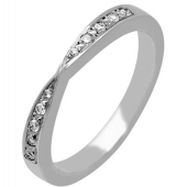 18ct White Gold Wedding Rings Shaped Diamond Inlaid