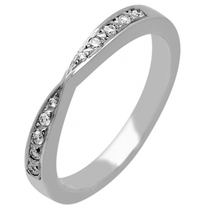 Palladium Shaped Diamond Wedding Ring
