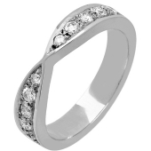18ct Gold Diamond Wedding Rings  - Shaped