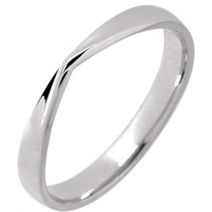 Palladium  Shaped Wedding Ring Width 3mm V Profile