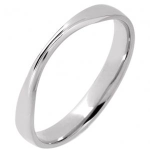 Palladium  Shaped Wedding Ring Width 3mm