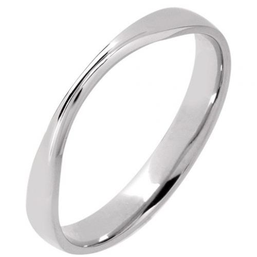 Shaped Wedding Ring 3mm (R1167) - All Metals