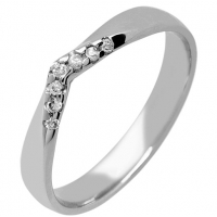 18ct White Gold Shaped Diamond Wedding Ring