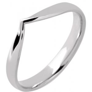 18ct White Gold Ladies Wedding Ring Width 3mm V Shaped