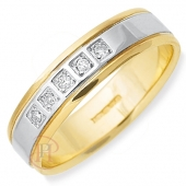 18ct White with Yellow Gold Flat Diamond Wedding Ring Width 5mm