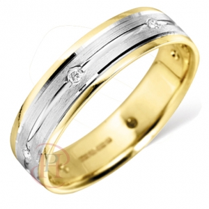 Yellow and White 18ct Gold Wedding Rings