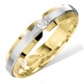 18ct White with Yellow Gold Flat Diamond Wedding Ring Width 4mm