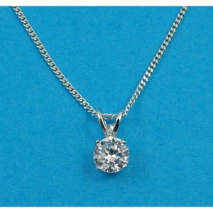 Free Gift Silver Pendant with a Round CZ Stone