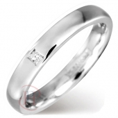 9ct White Gold Diamond Wedding Ring 3mm Wide