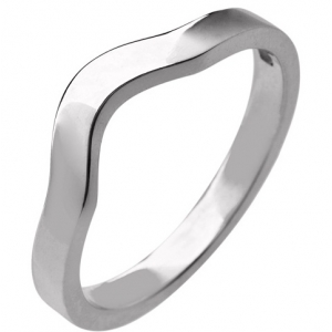18ct White Gold Ladies Shaped Wedding Ring Width 2.3mm