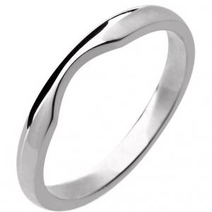 18ct White Gold Ladies Shaped Wedding Ring Width 2mm