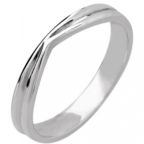 Shaped Wedding Ring 3mm (R165) - Platinum special