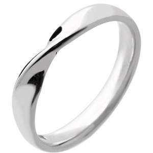 18ct White Gold Ladies Wedding Ring Width 3mm with a Twist