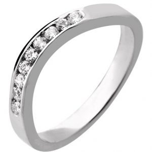 Palladium Shaped Diamond Wedding Ring