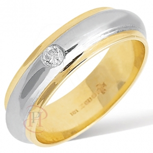 18ct White with Yellow Gold Diamond Wedding Ring Width 6mm