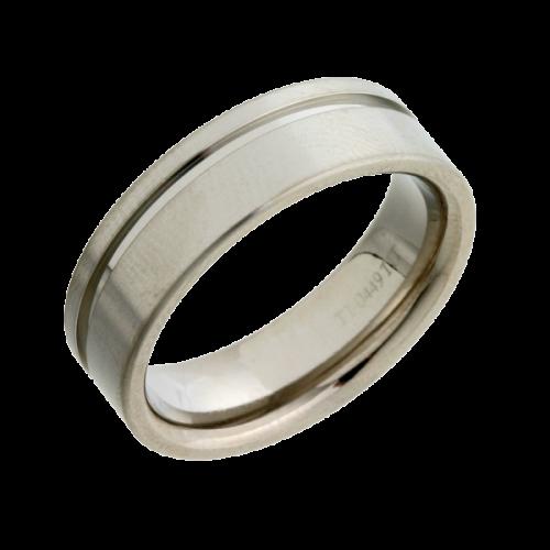 Patterned Titanium Wedding Ring (TI449-7)