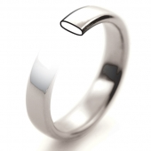 18ct White Gold Wedding Rings - Plain Slight Court Profile