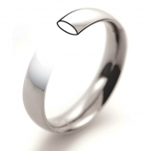 9ct White Gold Wedding Rings - Plain Court Profile