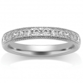 Platinum Half Eternity Ring - Millgrain