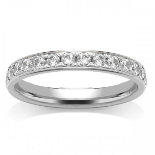 Diamond Wedding Ring - Half Grain Set - All Metals