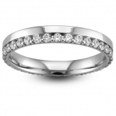 Palladium Half Eternity Ring - Offset Brilliant Cut Diamond Flat Court Ring