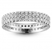 Platinum Full Eternity Brilliant  Double Row Diamond  Ring