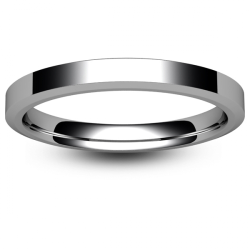 Flat Court Chamfered Edge -  2mm (CEI2-w) White Gold Wedding Ring