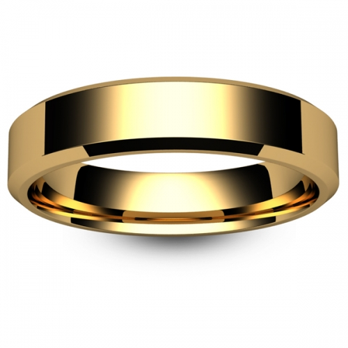 Chamfered Edge - 5mm (CEI5-Y) Yellow Gold Wedding Ring