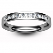 Palladium Half Eternity Ring - Brilliant Cut Diamond - Channel Set