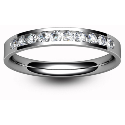 9ct White Eternity Ring - Channel Set