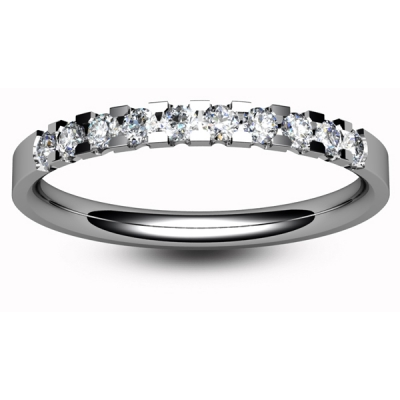 9ct White Eternity Ring - Claw Set