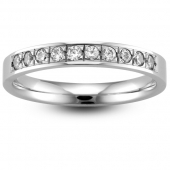 Palladium Half Eternity Ring - Brilliant Cut Diamond - Grain Set