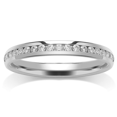 9ct White Half Eternity Ring - Channel Set