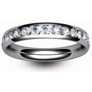 9ct White Gold Half Set Diamond Eternity Rings