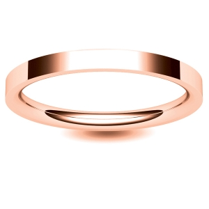 Flat Court Medium -  2 mm (FCSM2-R) Rose Gold Wedding Ring
