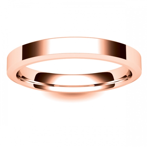 Flat Court Chamfered Edge - 3mm (CEI3-R) Rose Gold Wedding Ring