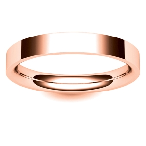 Flat Court Light -  3mm (FCSL3-R) Rose Gold Wedding Ring