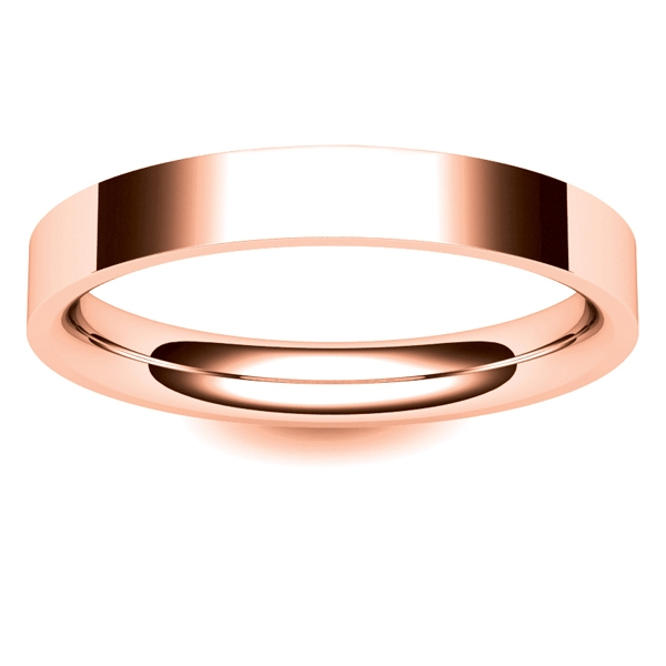 Flat Court Light 3mm Fcsl3 R Rose Gold Wedding Ring Fcsl3 R