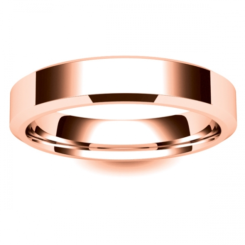 Chamfered Edge - 4mm (CEI4-R) Rose Gold Wedding Ring