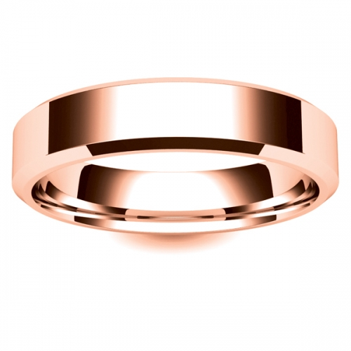 Flat Court Chamfered Edge - 5mm (CEI5-R) Rose Gold Wedding Ring