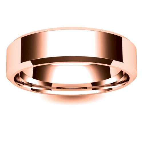 Flat Court Chamfered Edge - 6mm (CEI6-R) Rose Gold Wedding Ring