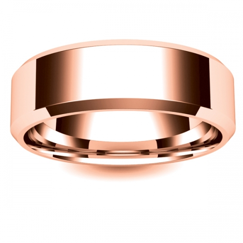 Flat Court Chamfered Edge - 7mm (CEI7-R) Rose Gold Wedding Ring