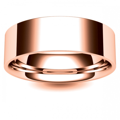 Flat Court Light -  7mm (FCSL7-R) Rose Gold Wedding Ring