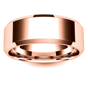 Flat Court Chamfered Edge - 8mm (CEI8-R) Rose Gold Wedding Ring