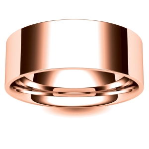 Flat Court Medium - 8mm (FCSM8-R) Rose Gold Wedding Ring