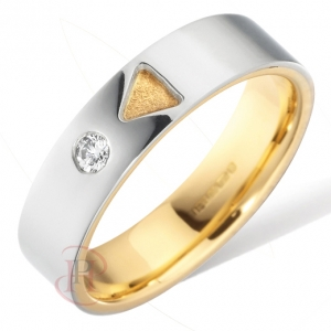 18ct White with Yellow Gold Diamond Wedding Ring Width 5mm