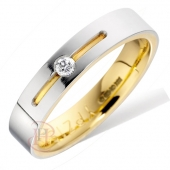 18ct White with Yellow Gold Diamond Wedding Ring Width 4mm