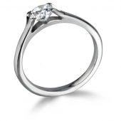 18ct White Gold Diamond Engagement Ring Brillant Cut Solitaire - Fast Delivery