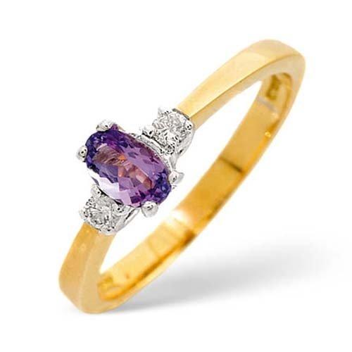 Diamond Rings  -  0.08 Carat Diamond and Tanzanite Ring